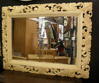 Large Renaissance Brushed Cream Ornate Bevelled Wall Mirror 123x93cm Wood Frame