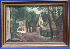 Vintage Old Town Oil Painting (unsigned) With Frame
