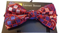 MENS BOW TIE RED AND BLUE CHECKERED BOWTIE  PRE-TIED BOW WITH CLIP