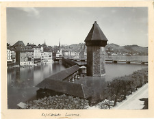 Suisse, Lucerne, Kapellbrücke Vintage print. Photomécanique  17x22  Circa