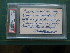 BASEBALL SIGNED AUTO HOF RUBE MARQUARD INDEX CARD PSA / DNA AUTHENTIC LETTER