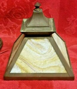 VINTAGE SLAG GLASS PORCH LIGHT, BRASS