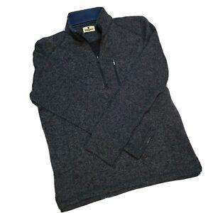 Woolrich Sweater 1/4 Zip Pocket Fleece Knit Pullover Men Gray Blue