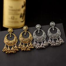 Retro Fashion Women Carved Peacock Long Tassel Drop Bells Dangle Jhumka Earrings