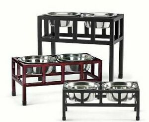 Pets Stop Dog Dishes Feeders Fountains With 2 Bowls For Sale Ebay