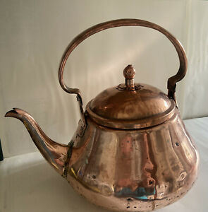 Beautiful Antique Handmade Hammered Copper Kettle