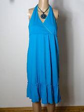 ESPRIT Kleid Gr. S türkis-blau wadenlang Baumwolle Empire Neckholder Kleid