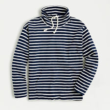 J.CREW Striped Pullover Cotton sweatshirt Top S Navy/Ivory Long sleeve NWT $80