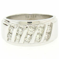 Men's 14k White Gold 1.00ctw Round Diamond Diagonal Channel WIDE BOLD Band Ring