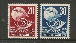 Germany Wurttemberg 1949 UPU Set Superb Mint Never Hinged