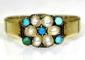 Georgian Turquoise & Pearl Cluster 15ct Yellow Gold Ring K 1/2 ~ 5 1/2