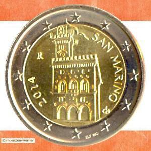 Kursmünzen San Marino: 2 Euro Münze 2014 Palazzo Palast Rathaus zwei € Kursmünze