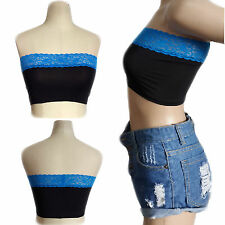 Women's Sexy Blue Lace BLACK Polyester Body Casual Summer Short Crop Top SMALL