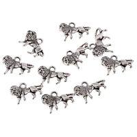 lion Tibetan Silver Bead charms Pendants fit bracelet necklace 10pcs 17*10mm