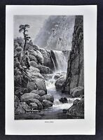 1880 Antique Print Mamoni Falls Reclus Panama Canal Expedition Jungle Waterfalls