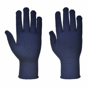 Portwest A115 Thermal Knitted Liner Polyester Warm Gloves Hand Protection - Blue
