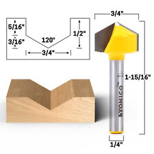 """120 Degree V Groove Router Bit - 1/4"""" Shank - Yonico 14997q"""