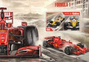 2008 RENAULT R28 & 2009 FERRARI F60 Formula One F1 Race Car Stamp Sheet (2013)