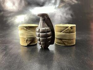 Vietnam era cast iron pineapple dummy test grenade INERT hollow /w wool straps