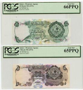 Qatar 10 + 5 Riyals Pick  #3a / #2a  1973 PCGS 66 & 65 PPQ (PMG) Gem UNC Dubai