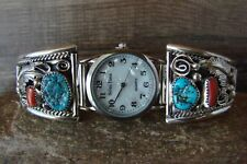 Native American Indian Jewelry Sterling Silver Turquoise Coral Watch