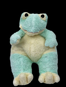 """TY Baby Frog Rattle Pastel Green Plush Stuffed Pluffie 12"""" 1999 Vintage Toy"""
