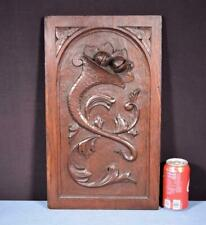 *Antique French Panel in Solid Oak Wood Highly Carved Details Salvage