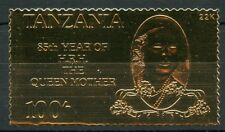 TANZANIA  85th BIRTH ANNIVERSARY OF THE QUEEN MOTHER I  22K GOLD FOIL STAMP
