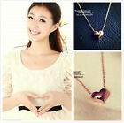 NICE CUTE GIFT UE52 Gold Plated Heart Necklace women Chain Jewelry Pendant