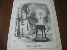 1889 Original Political Cartoon - 1888 Old Year Man w Wizard Father Time Baby