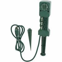 Holiday Time Outdoor 3-Outlet Power Stake Timer with Sensor Photocell Waterproof