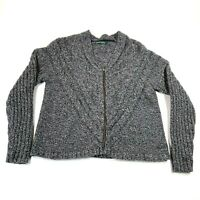 Woolrich Cardigan Sweater Womens L Heather Gray Zip Front Cable Knit V Neck