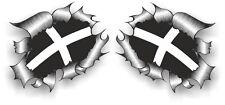 Pequeño Par STD Rip RASGADO RASGADO Metal Cornwall Cornualles Kérnou Bandera Pegatina de Coche