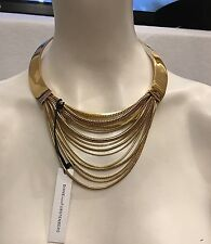Authentic 17 Karat Elegant DIANE Von Furstenberg Collar Gold Tone Necklace $428