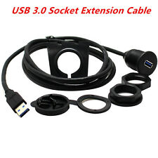 3FT Car Dashboard Flush Mount USB 3.0 Socket Extension Lead Panel Cable Cord Kit
