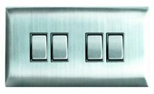 Superswitch SW306 BSS 10A Plate Light Switch 4 Gang 2 W Brushed Stainless Steel