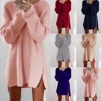 Women's Ladies Jumper Sweater Dress Winter Long Sleeve Wearwork Bodycon Knitted