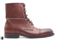 Capuchon d'orteil en cuir marron véritable pour hommes à la main Bottines