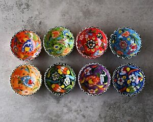 Set of 8 Handmade Turkish Ceramic Bowls 7cm Hand Painted by Sydney Grand Bazaar