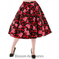 RKH66 Hearts and Roses H&R 50 Heart Floral Summer Rockabilly Skirt Vintage Swing