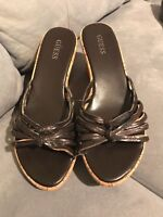 GUESS Women's BROWN Shoes Size 7.5 STRAPPY WEDGES
