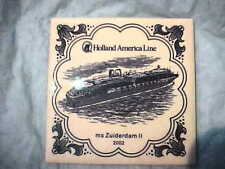 Holland America Cruise Line Delft tile coaster ms Zuiderdam II 2002