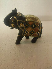 Antique classic vintage handcarved decorative brassfitted small woodden elephant