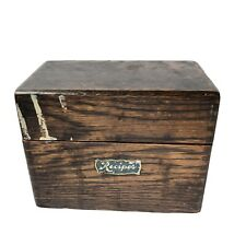Vintage Oak Wood 3x5 Index Recipe or File Box Dovetailed Corners