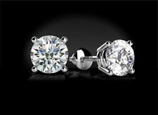 2 Ct Diamond Round Earrings Stud Gold Brilliant Cut Basket Screwback 14K ..````