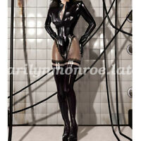New 100%Latex Rubber Bodysuit Women Sexy Catsuit All-body Suit 0.4mm XXS-XXL