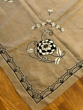 "Vintage antique Art Deco c1928 French hand embroidered linen tablecloth, 59""x56"""