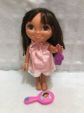 "Dora The Explorer Doll 2011 14"" Rooted Glam Eye Lashes Pink Hairbrush"