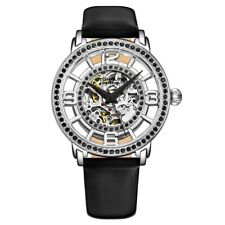 Stuhrling 777 04 Winchester Automatic Skeleton Black Leather Strap Womens Watch