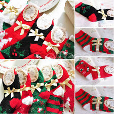 5pairs Warm Soft Coral Cashmere Ankle Socks Santa Claus Deer Xmas Christmas Gift